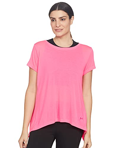 Under Armour UA Whisperlight SS Foldover Camiseta, Mujer, Rosa (Mojo Pink/Mojo Pink/Tonal 641), L