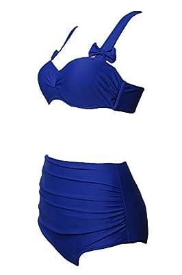 Nature Armour Women's Sweet Bowknot Two-Piece Swimsuit High Waist Beach Swimwear Blue, X-Large (fits like US 14-16)