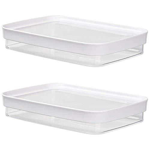 Emsa 513-560 Optima Aufschnittboxsystem, rechteckig, 0.7 Liter, klar/weiß (2 Stück)
