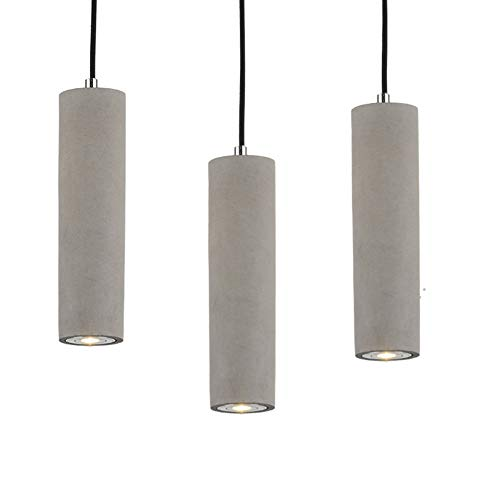 Hanging Pendant Lights LED Lighting lamp Kitchen Island Ceiling Light Shade Concrete Cement Fixtures Industrial Decor for Dining Room Coffee Club Resturant Bar Living Room (7x25cm / 2.7x9.8')