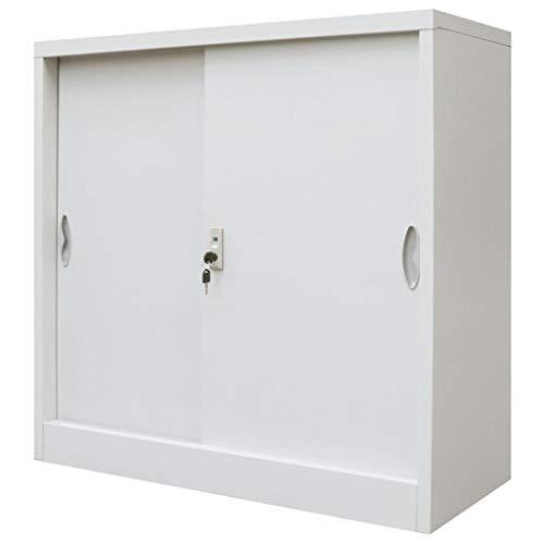 FAMIROSA Armario Oficina con Puertas correderas Metal Gris 90x40x90 cm