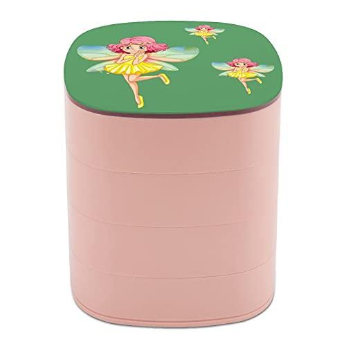 Ruotare la scatola di gioielli di disegno trucco femminile elfo giallo vestito timido ghirlanda gioielli scatola piccola con specchio, multi-strato design gioielli piatto per le donne ragazza