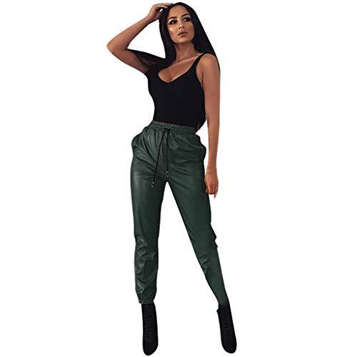 Damen Leder Streetwear Hosen Faux High Waist elastische Hosen Fashion Casual Hosen
