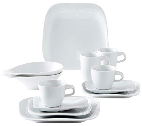 Kahla 15E197A90015C Elixyr Design 2Go Porzellan Geschirrset für 2 Personen Komplettset Tafelservice 12-teilig modern Tassen Teller Schalen Suppenteller weiß