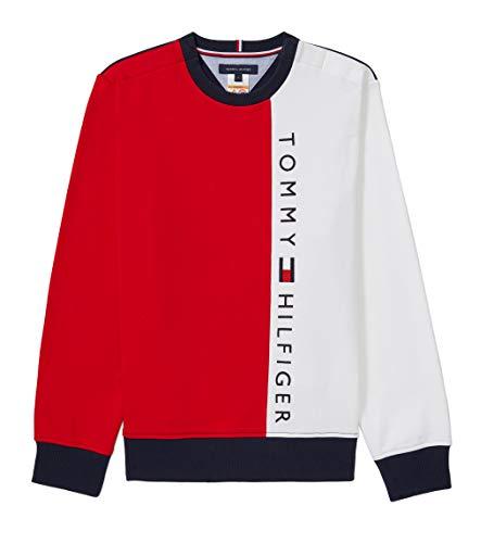 어깨에 자기폐쇄가 있는 토미 힐피거 남성의 적응성 스웨터