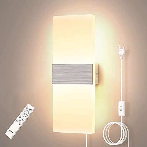YANSW Lámpara de pared Aplique de pared Aplique de pared, enchufable 2700K-6500K Regulable Acrílico para interiores Moderno LED de 12 W que cambia de color a través de la aplicación de teléfono intel
