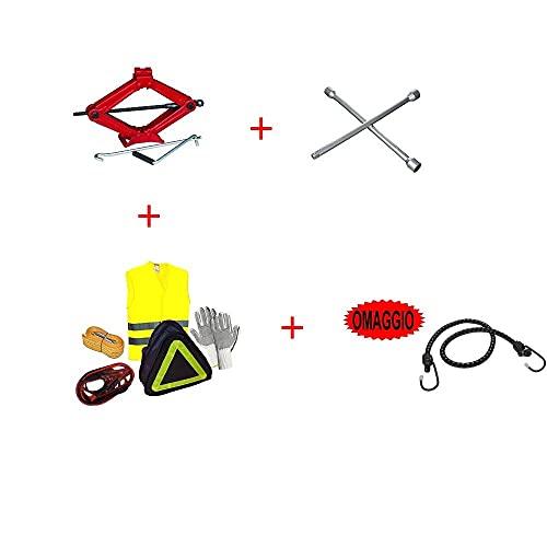 Compatible con Volkswagen UP! Kit DE Emergencia EN Carretera para Coches 6 Art. Jack+Guantes+Cables+Cuerda+Chaqueta +Llave