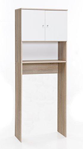 WILMES Maschinen-Umbauschrank mit 2 Türen, Spanplatte, Melamin Dekor Sonoma Eiche/Weiß, 65 x 32 x 179 cm