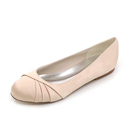 LGYKUMEG Nouvelles Chaussures de mariée Pour Femmes en Satin Fleur fille Dames de Mariage Talons hauts Taille Satin Bout Rond Chaussures de Mariage Pour Femmes,04,EU42
