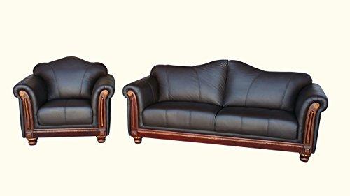 Voll-Leder-Sofa-Garnitur Kolonial-Stil Polstermöbel-Sessel Kolonialstil 278-3+1-3023