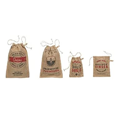 Vintage Burlap Potato, Onion, Garlic and Ginger Sacks Set of 4