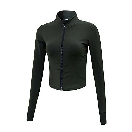 Women's Stretchy Athletic Workout Lightweight Jacket Full Zip Running Track Jacket Black M