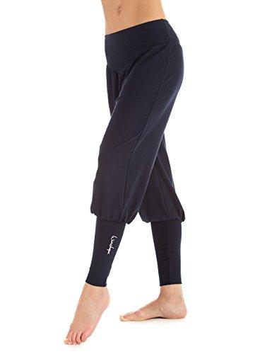 WINSHAPE Damen Fitness Freizeit Sport Yoga Pilates Trainings und Manschettenhose Trainingshose, Night Blue, S