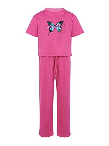 Agoky Chándal para Niña Estampado Mariposa Moda Conjunto de Ropa Deportivo Casual Crop Top y Pantalones Largos 5-14 Años Rosa rojo 140