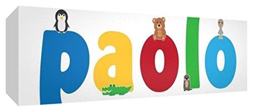 Little Helper LHV-PAOLO-3084-15IT Toile pour Nursery avec panneau frontal, motif personnalisable avec nom des garçons Paolo, multicolore, 30 x 84 x 4 cm