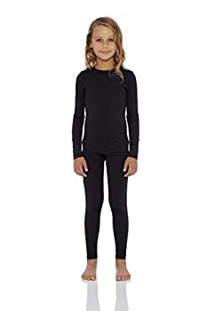 Rocky Thermal Underwear for Girls  Thermal Long Johns Set  Shirt & Pants Base Layer w/Leggings/Bottoms Ski/Extreme Cold  Black - X-Small