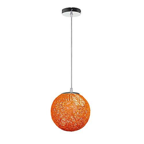 Lámpara de Techo Colgante Forma de Bola de Tela Tejida Luz Colgante 20cm Interior Iluminación Decoración Cafetería Restaurante Sala de estar Comedor pasillo Loft (Naranja)