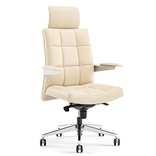 BIAOYU Silla ergonómica giratoria para oficina, silla de trabajo de cuero con reposabrazos ajustable inclinable 120° polea para silla de ordenador de casa (color: blanco crema)