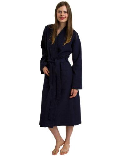 TowelSelections Women's Robe, Kimono Waffle Spa Bathrobe Small/Medium Navy