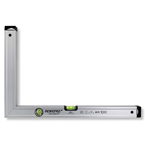 DEWEPRO® Aluminium Bauwinkel 90° mit 2 Libellen - Winkel - Maurerwinkel - Messwinkel - Profilwinkel - Aluwinkel - 40x30cm