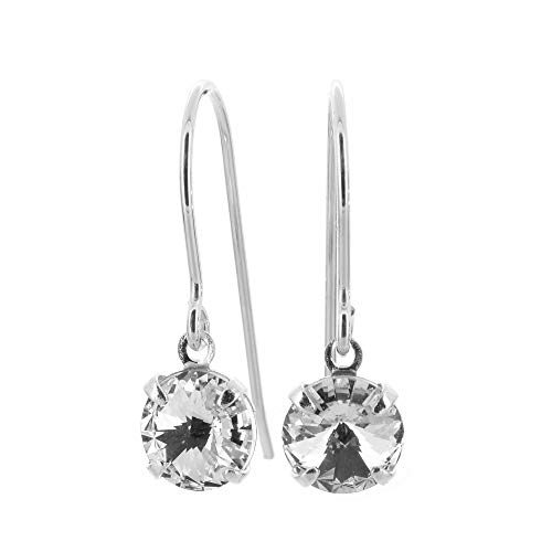 pewterhooter petite 925 Sterling Silver drop earrings for women made with brilliant Diamond White crystal from Swarovski. Gift box.