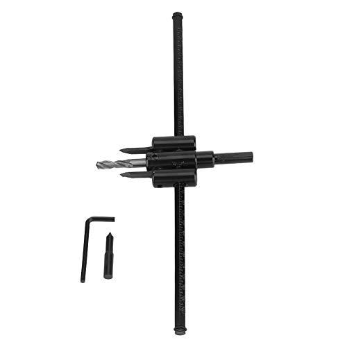 Kreisloch-Sägebohrerset, 30-300 mm verstellbares schwarzes Bohrmeißelset DIY Holzbearbeitungswerkzeug