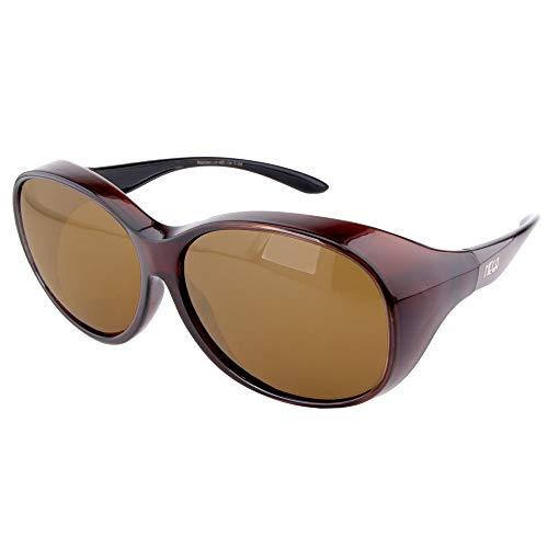 ActiveSol Überziehbrille Damen MEGA | Sonnenbrille polarisiert zum Überziehen | UV400 | Autofahren & Fahrrad | Brille über Brille für Brillenträger | Polbrille | 32g (Braun)
