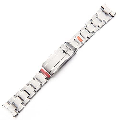 Pulsera de reloj de acero inoxidable para hombre con cierre de botón de ajuste fino, Plateado, 21mm,