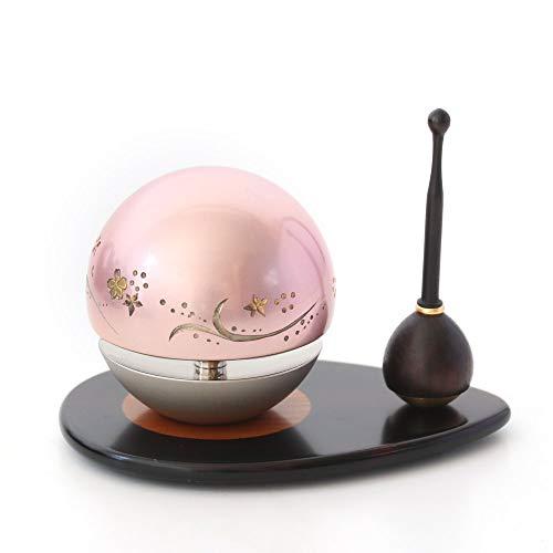 たまゆらりん1.8寸 ピンク 3点セット彫刻入り(本体+リン棒+りん台) 黒檀(台)×黒檀(棒)