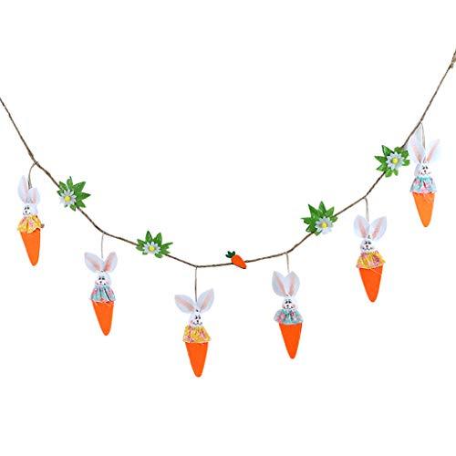 HLLR 1,6 m påsk morot kanin hänge banderoll flagga väggdekoration fest trädgård dekor påsk gör-det-själv påskpynt