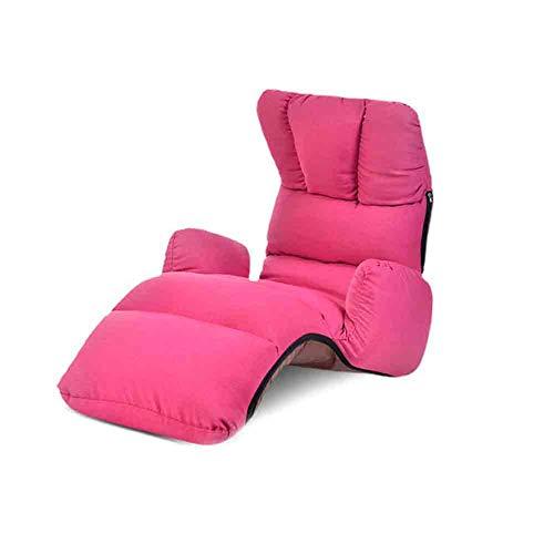 ECSD Salon Canapé-lit Pliant Réglable 8-Position Lounger Sleeper Futon Matelas Chaise Chaise ,Baie Fenêtre Sofa (Couleur : Rose Rouge)