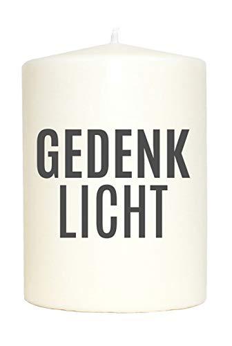 WB wohn trends Kleine Spruchkerze weiß, Gedenk-Licht, Aufdruck grau, 10x7cm, Trauer-Kerze Gedenk-Kerze mit Spruch Motiv-Kerze
