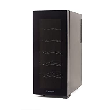 Westinghouse, Wine Cellar, Thermal Electric Champagne, Red and White Wine Cooler, 12 Bottle, Black, (WWT120MB)