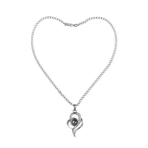 Fineday Hollow Shape 100 Languages I Love You Projection Pendant Necklace Gift, Necklaces & Pendants, Products for Xmas Day (Silver)
