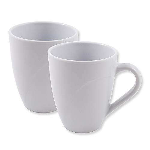 Cartaffini – 2 tazas de melamina con asa ancha. Dimensiones: Ø 8,3 cm / H 10 cm – Capacidad: 220 ml – Color: blanco
