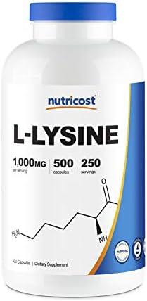 Nutricost L-Lysine 1000mg, 500 Capsules - Gluten Free, Non-GMO, 500mg Per Capsule