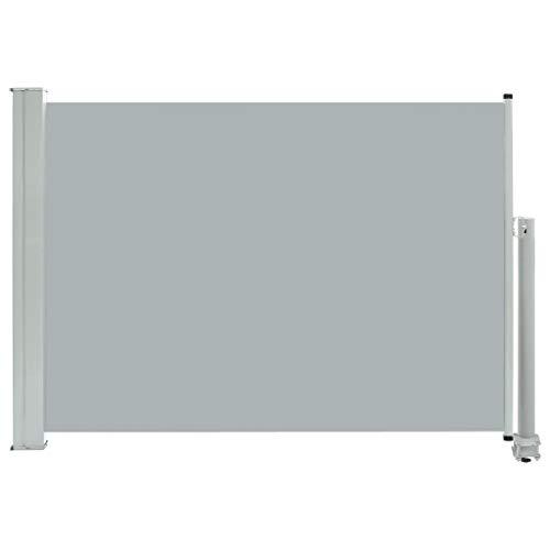 vidaXL Seitenmarkise Ausziehbar UV- und Wasserbeständig Sonnenschutz Sichtschutz Windschutz Seitenrollo Markise Balkon Garten Terrasse 80x300cm Grau