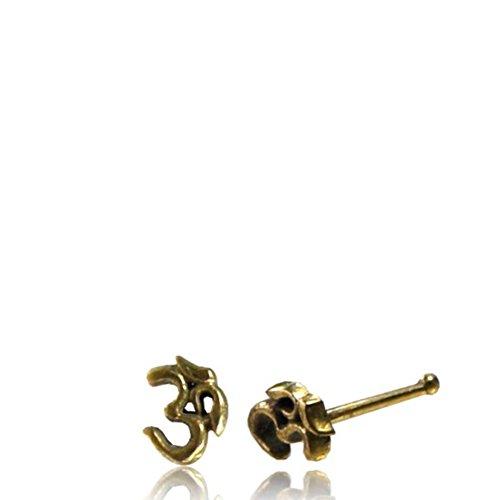 Rechte neussteker (of tragus) gouden OM - teken messing 8 mm lang