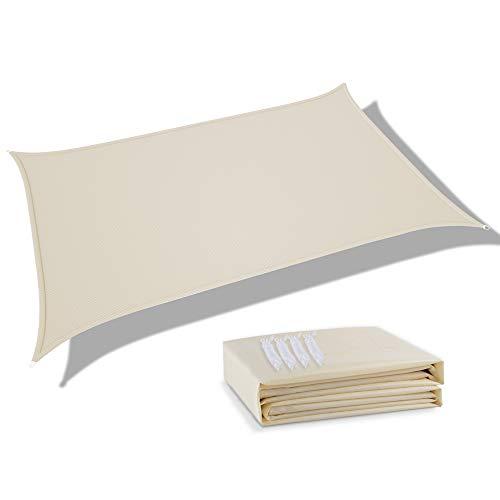 deepee Tenda a Vela Parasole 2×3m Rettangolare, Realizzato in Poliestere di Alta qualità, 95% UV Protezione e Impermeabile, per Giardino, Struttura Esterna e attività, Bianco Crema