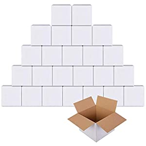 GIOOU Shipping Boxes 4x4x4 inches Small sized Corrugated Mailing Box White 25 Pcs