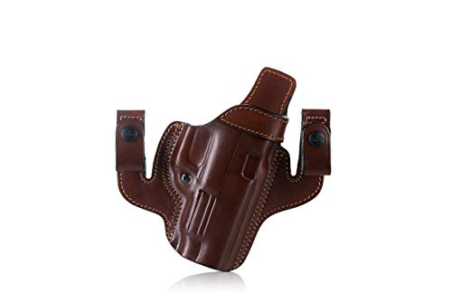 FALCO Dual IWB/OWB Pancake Style Leather Holster - Merlin Classic A214 (Black)
