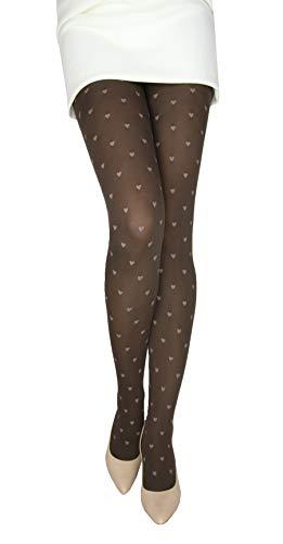 Marilyn gemusterte blickdichte Strumpfhose, 60 Denier, Größe 36/38 (S/M), Farbe Braun (brown & latte)