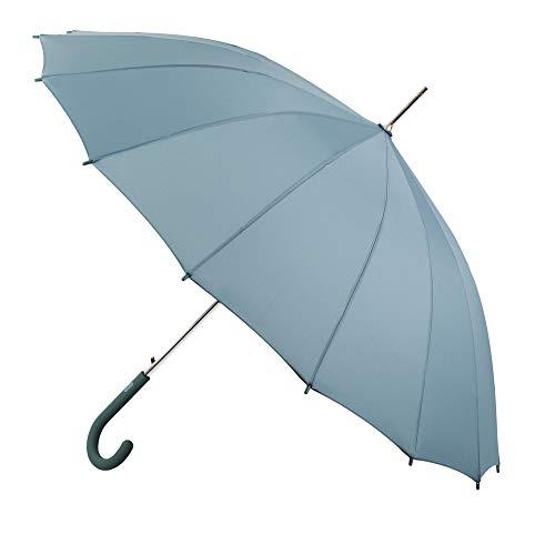 Paraguas Mujer Vogue. Paraguas de 16 Varillas. Bella y Elegante Forma una Vez Abierto. Paraguas automático y antiviento. (Celeste)