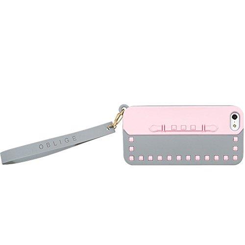 Oblige OBI57070 Chic Schutzhülle Schale Hülle Cover für Smartphone Apple iPhone 5/5S/5C grau/rosa