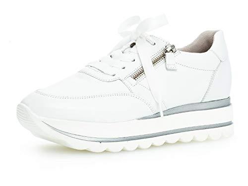 Gabor Damen Low-Top Sneaker 24.410.21, Frauen Halbschuh,Schnürschuh,Strassenschuh,Business,Freizeit,Weiss,38.5 EU / 5.5 UK
