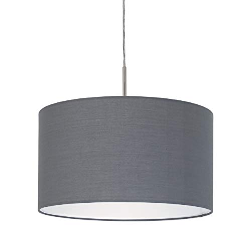 EGLO Pendellampe Pasteri, 1 flammige Textil Pendelleuchte, Hängeleuchte aus Stahl und Stoff, Farbe: nickel matt, grau, Fassung: E27, Ø: 38 cm