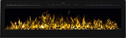 AFLAMO MAJESTIC Caminetto elettrico, camino elettrico da parete (750 W o 1500 W), con simulazione a LED, profondità solo 14 cm (165x54x14)