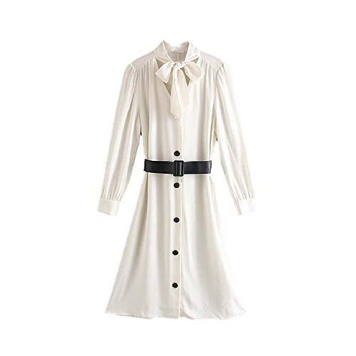 Las Mujeres Estilo Vestido Midi Blanco Pajarita Fajas