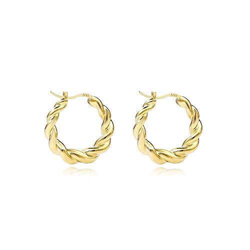 CHIY-GBC 925 Plata esterlina Popular huggie Hoop Pendientes Oro Graduado Aros de Marea Pendiente para Mujeres Europeas joyería 16 mm