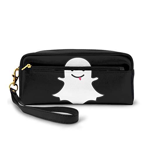 Snapchat Ghost - Astuccio grande capacità in tela per penne, penne, cancelleria e cosmetici